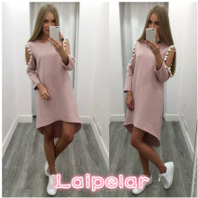Women Sexy O Neck Dress Elegant Long Sleeve Casual Knee Length Solid 2018 Spring Dresses Laipelar
