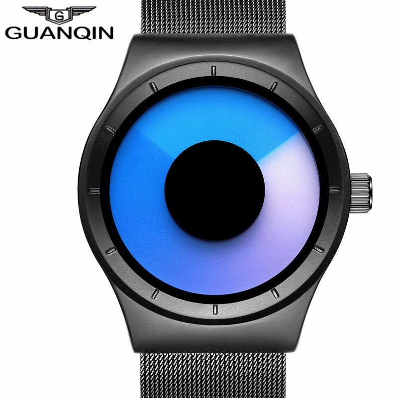 GUANQIN Men Watch Top Brand Quartz Watch Men Stainless Steel Mesh Band Unique Men's Watch High Quality Male Clock Montre Homme migeer 2009 trendy steel band men quartz watch