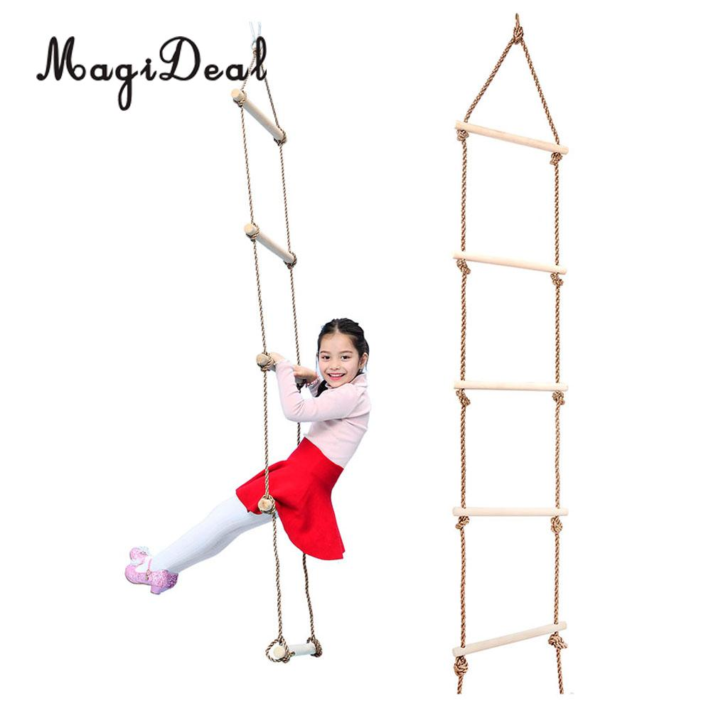 MagiDeal Kids Playhouse Tree House Wooden 5 Rungs Rope Climbing Ladder Toy for Indoor Outdoor Sport Safe Toy Children Play Game