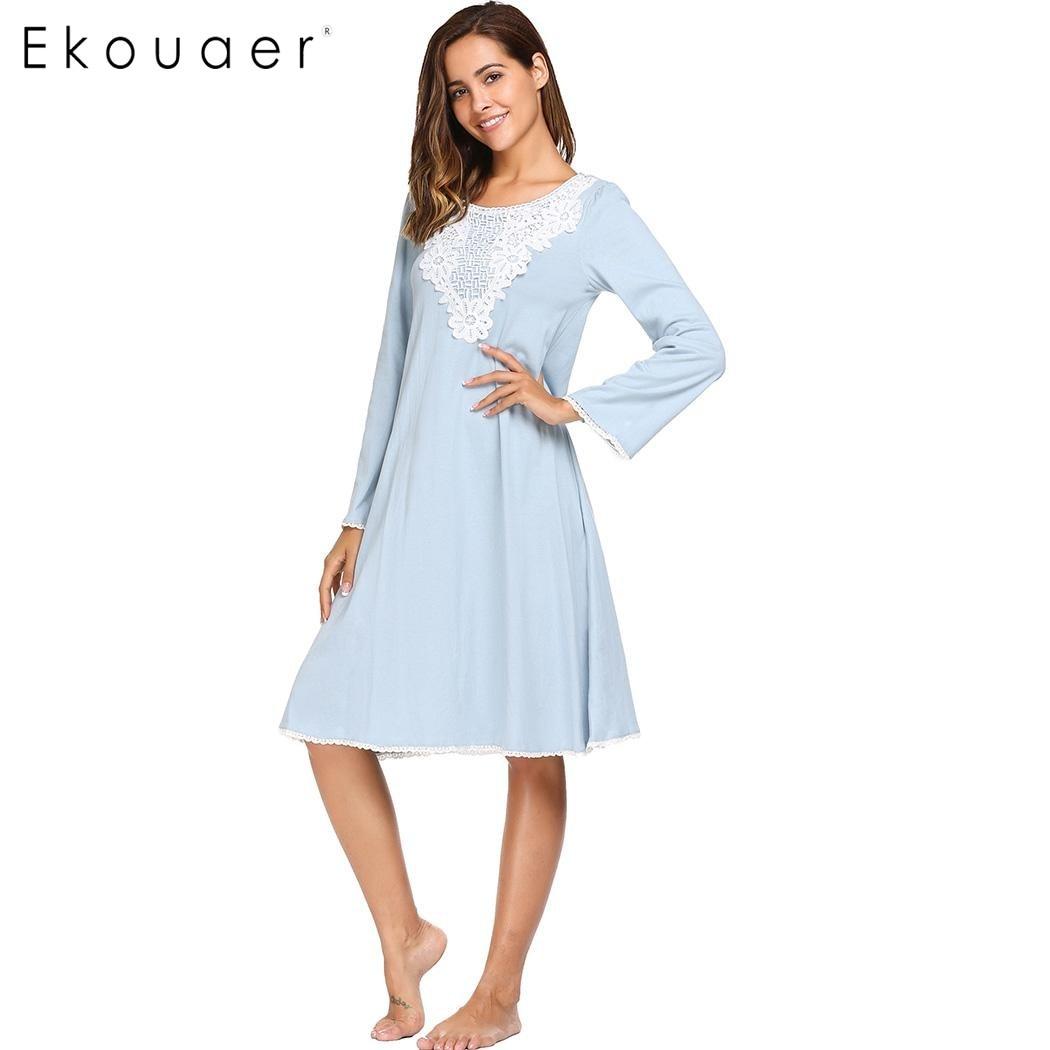 Ekouaer 2017 Vintage Sleepwear Women Elegant Long Sleeve Lace Patchwork Nightdress Autumn Casual Loose Nightgown