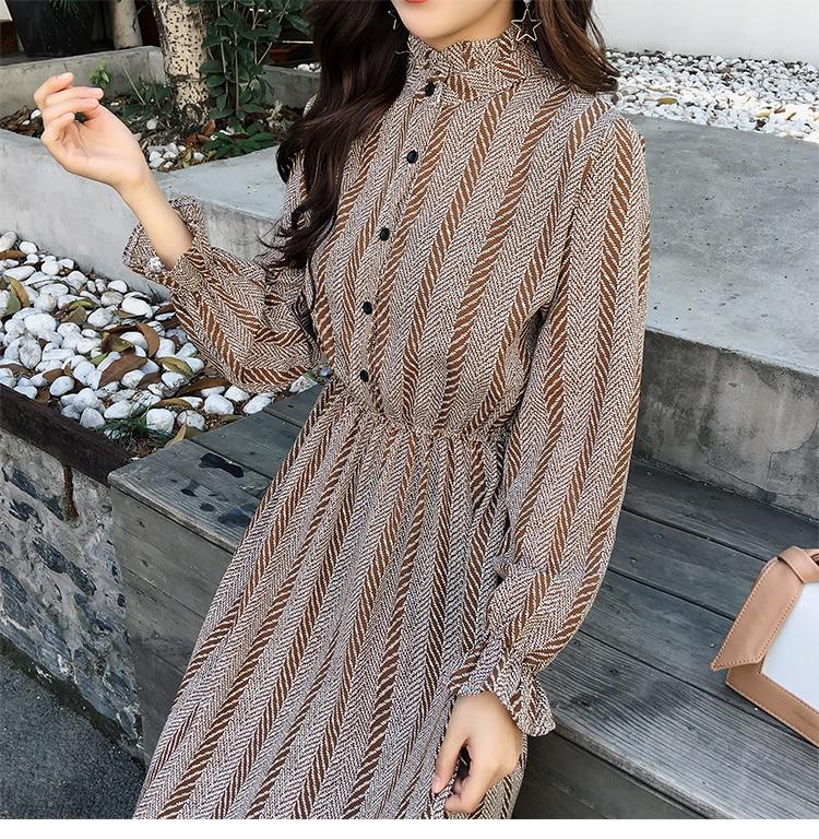 Women chiffon dress 2019 spring autumn female vintage print elegant a-line dress long sleeve loose casual office lady dress 21
