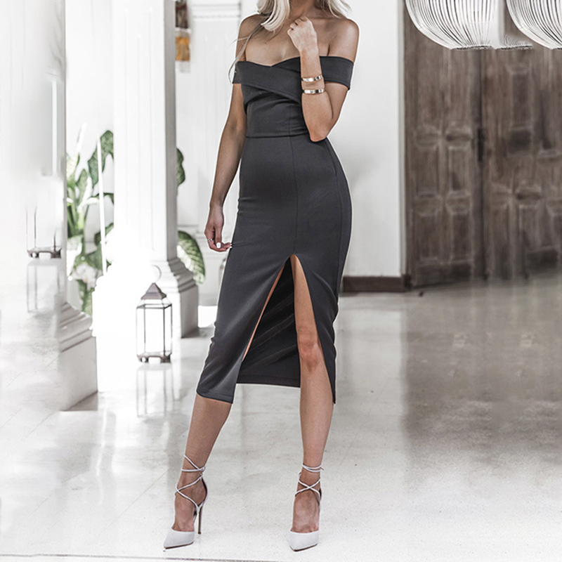 Spring Summer Fashion Sexy Women Dress Off The Shoulder Bodycon Dresses Sexy Backless Side Split Vestidos For Female 841414