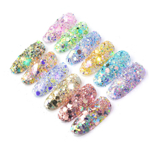 50g/Bag Nail Glitter Sequins Colorful Flakes Laser Rainbow Manicure DIY Mixing holo Powder For 3D Art Decoration PT