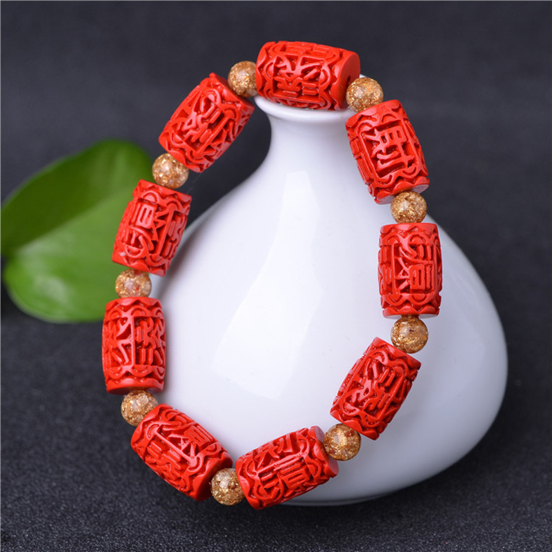 2pcs/lot High Quality China's Red Cinnabar Bracelets goldleaf and agate Bracelets bangles For Pretty Women's Jade Jewelry