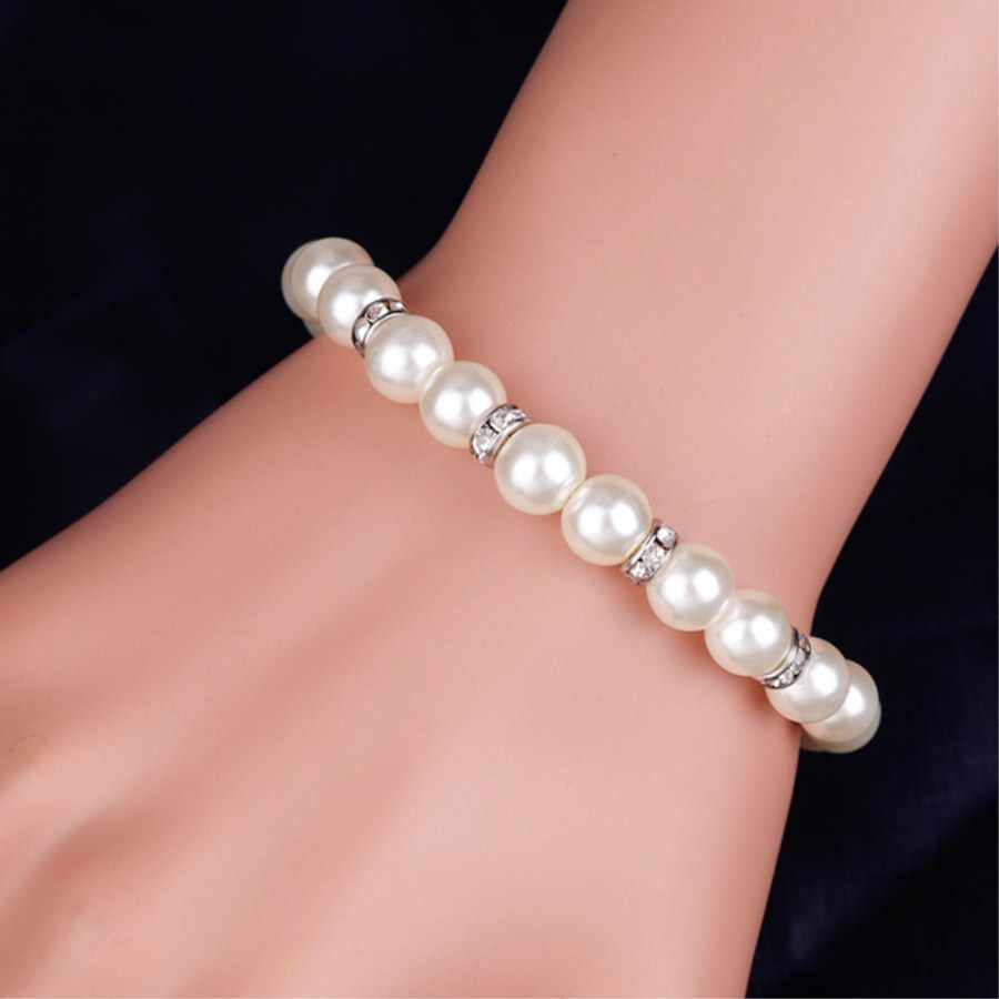 2018 Sliver Simulated Pearl Jewelry Sets For Women Vintage Necklace Crystal Earrings Bracelet Party Wedding Accessories