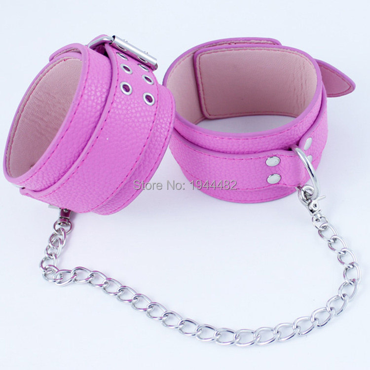 Buy SODANDY Handcuffs Pink Wrist Cuffs Leather Fetish Bondage Restraints Slave Hand Cuffs Sex Toys Couples Shackles Adult Games