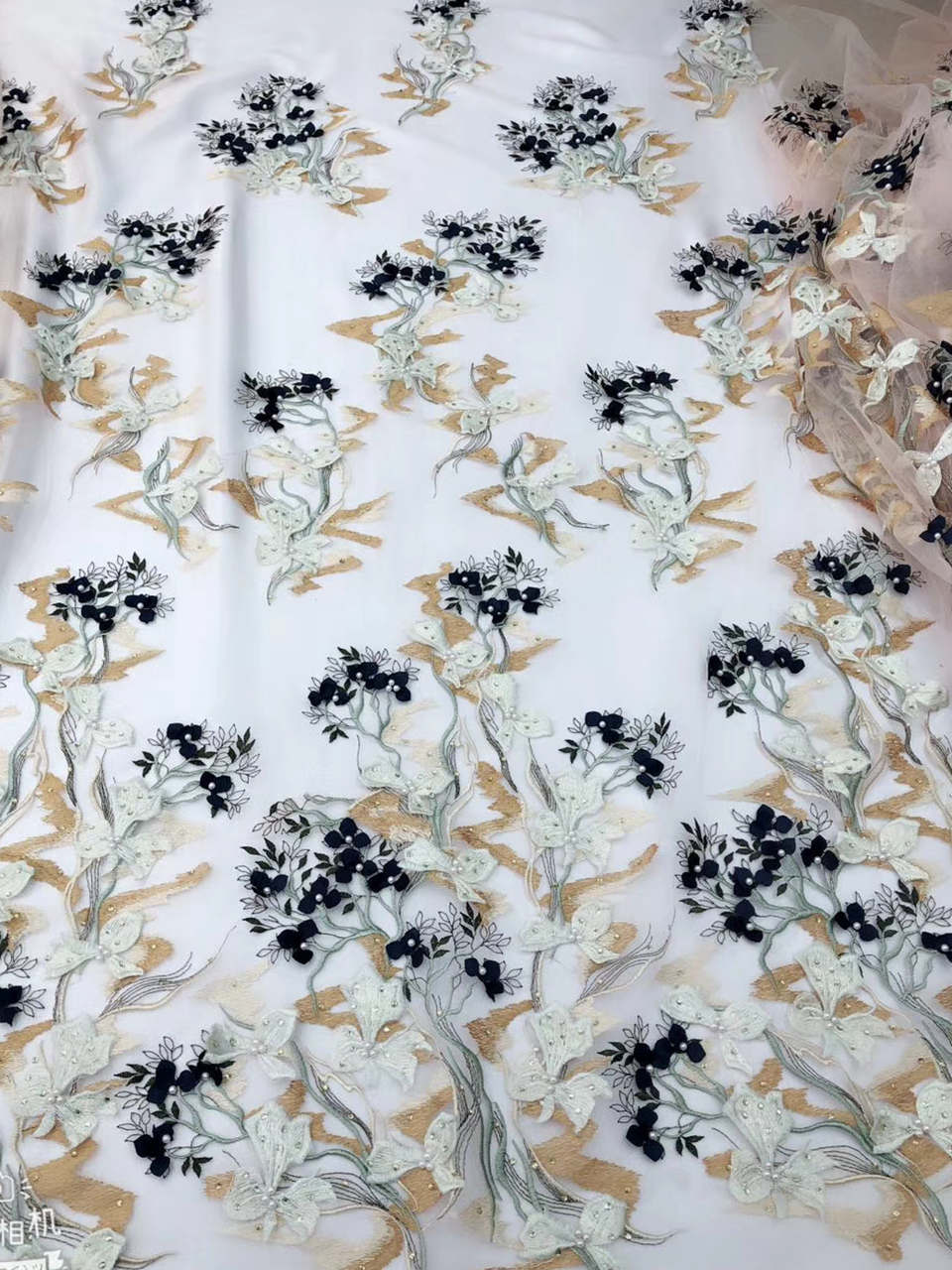 French net Fabric with beads and rhinestones 3D flower Embroidered Tulle Fabric African French Lace Fabric For Dress IG784