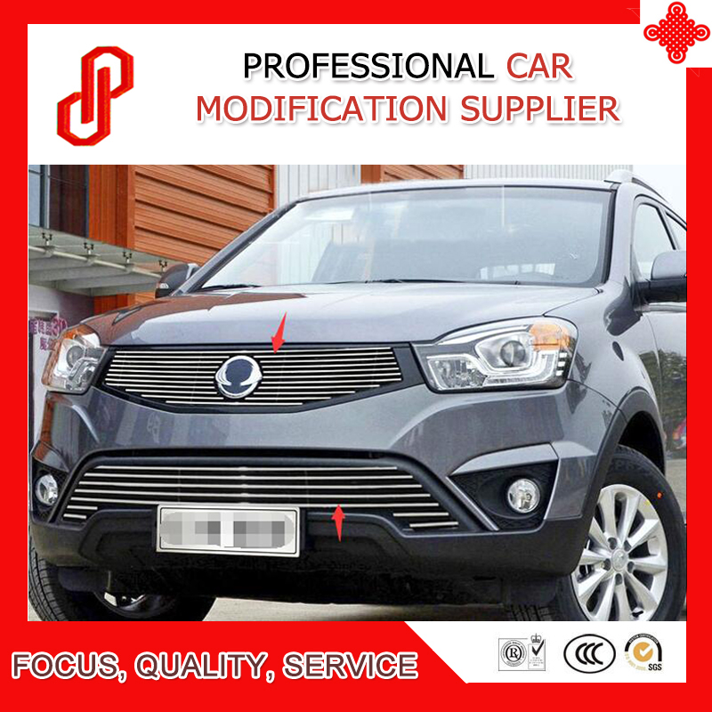 High quality Stainless steel modification car front grille racing grills grill cover for Korando 2013 2014