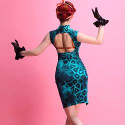 Черный Восточный Шарм женщина сплит Костюмы для латиноамериканских танцев Танцы платье для шоу женский синий Леопардовый бархат