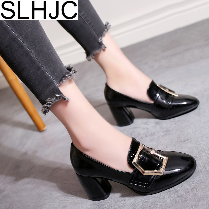 SLHJC 6.5 CM Heels Pumps Shoes Round Toe Slip On Leather Chunky Heel Casual Fashion Women High Heel Shoes 2018 Spring Autumn nayiduyun women casual shoes low top platform wedge high heels boots round toe slip on pumps punk chic shoes black white sneaker
