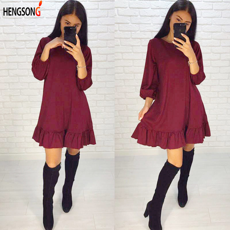 Women Party Dresses Casual O-Neck Elegant Chiffon Dress Ruffle Lantern Sleeve Lady Loose  Dresses Vestidos 742105
