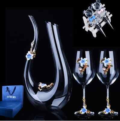 Europeo Di alta qualità Creativa WineDecanter Cinque Set di Cristallo Dello Smalto di Vetro Calice di Vino Rosso Trapano Set Regalo di Nozze di Cristallo di Vetro tazza