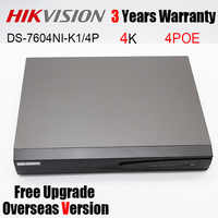 Hikvision DS-7604NI-K1/4P 4CH 4K Embedded Plug & Play NVR 1SATA 4 POE Ports 8MP H.265 Network Vedio Recorder