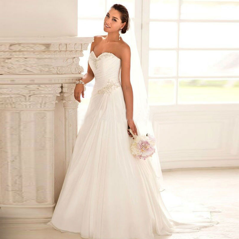 New arrivals White Sweetheart Sleeveless Ball Gown Court Train Floor Length Chiffon and Satinfor Women Wedding Dresses(China (Mainland))