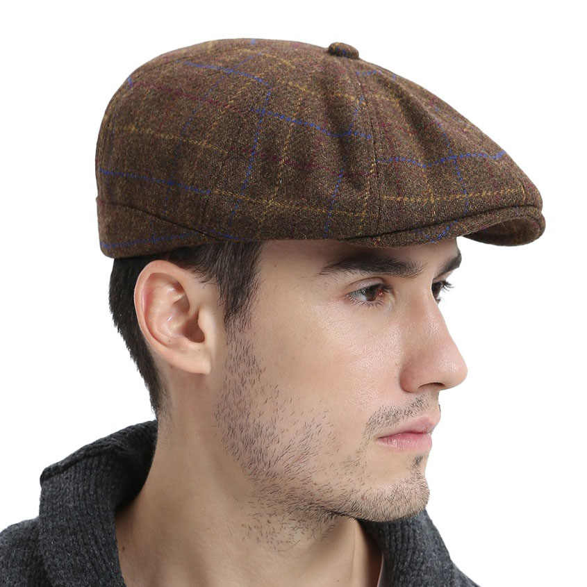 732042afb791b VOBOOM Wool Tweed Newsboy Cap Mens Women Flat Cap Large Check Cabbie Hat  Autumn Winter Beret