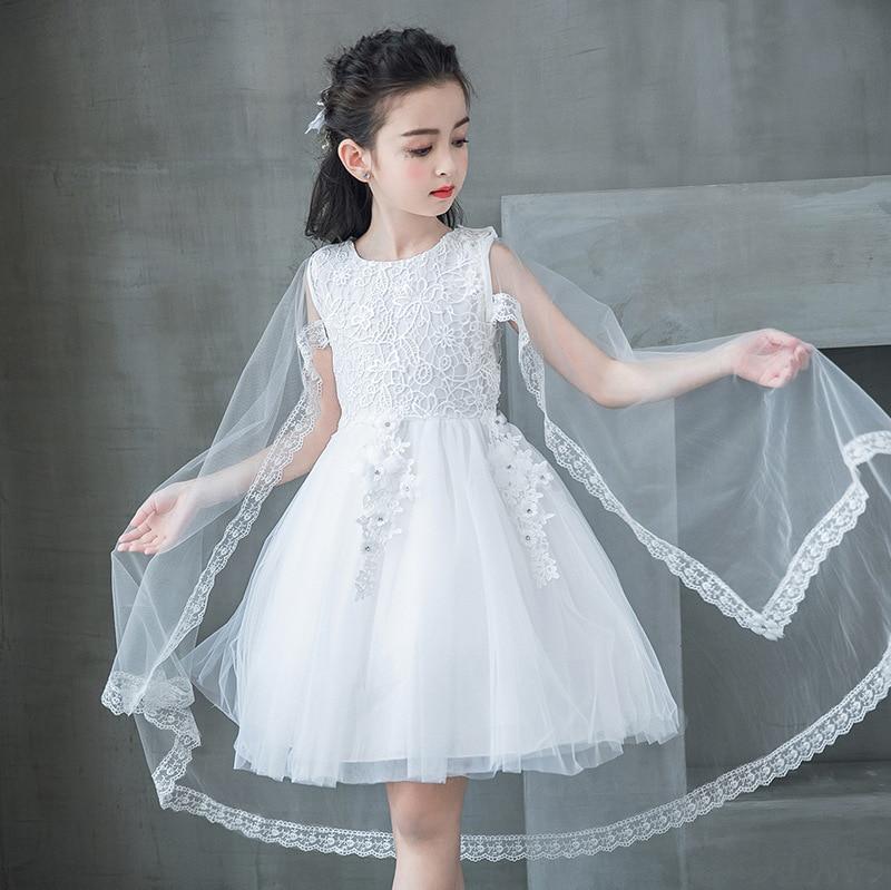 White Flower Girl Wedding Dress Girls Summer Cape Kid Elegant Vestido Infantil 4 6 8 10 12 14 Years Old Girls Clothes 184066