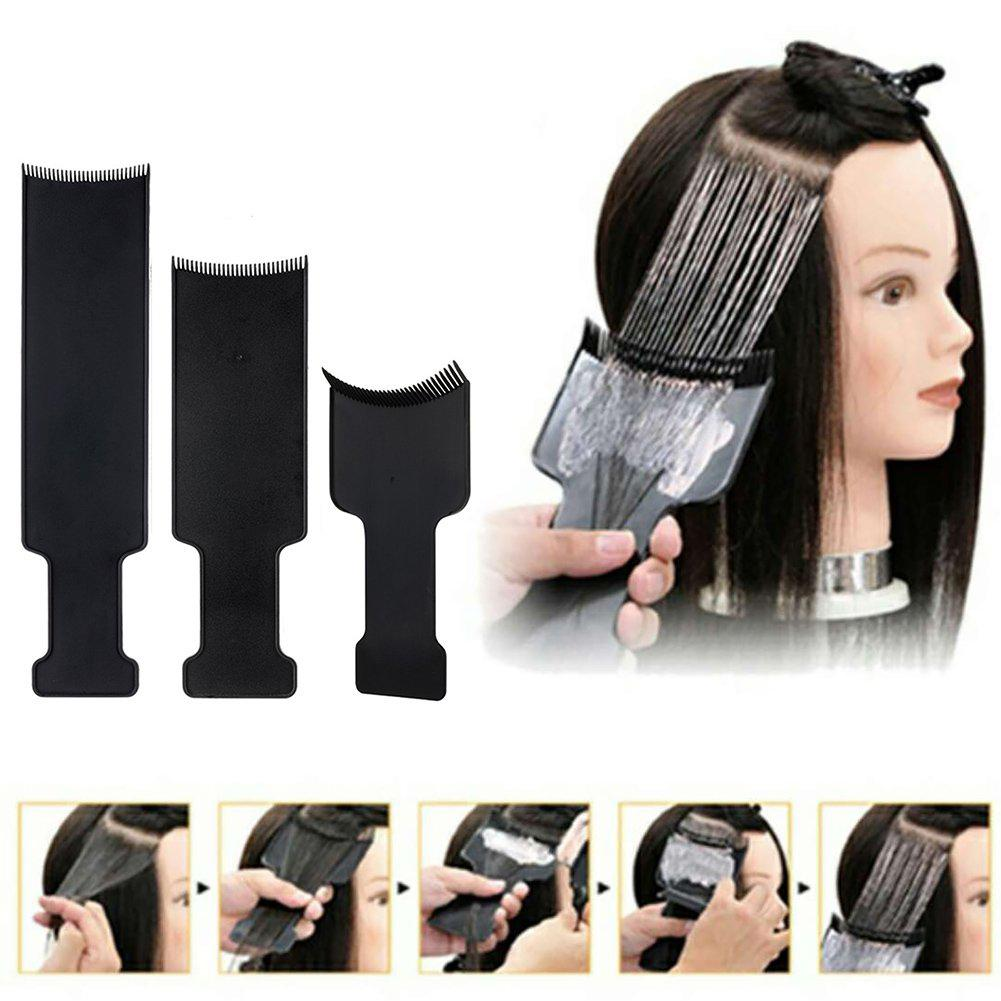 3Pcs Pro Salon DIY Highlighting Colouring Hair Dyeing Tint Long Coating Plate Board Barber Design Styling Accessories Tools