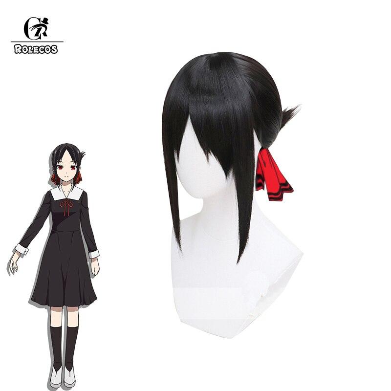 ROLECOS Kaguya-sama: Love is War Cosplay Hair Kaguya Shinomiya Cosplay   Headwear   40cm Natural Black Women Hair