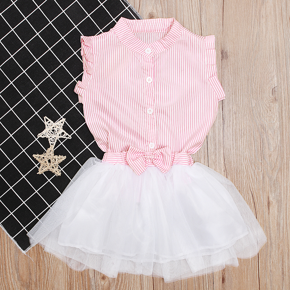 14a787ffd1248a Sweet Kids Baby Girl Clothing Sets Cotton Ruffle Striped Blouse Tops Bow  Tulle Tutu Skirts 2Pcs Casual Summer Girl Outfits 1-7Y