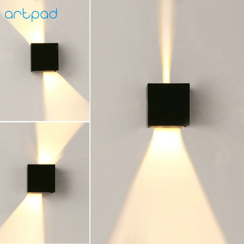 Artpad Modern Indoor Outdoor Waterproof Wall Lamp AC220V Black/White Dimmer LED Stair Light for Bathroom Hotel Hallway Lighting ...