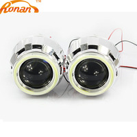 RONAN 2.5'' Bi Xenon H1 Projector Headlight HID Lens with White LEDs DRL 70MM COB Angel Eyes for H4 H7 headlight