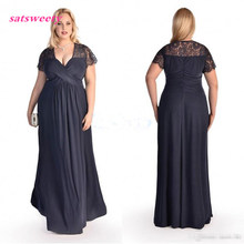 Plus Size Formal Dresses With Lace Short Sleeves Pleat Chiffon Navy Blue Lace Prom Gowns Cheap Mother of the Bride Dress navy lace hollow out short sleeves mini dresses with lace up design
