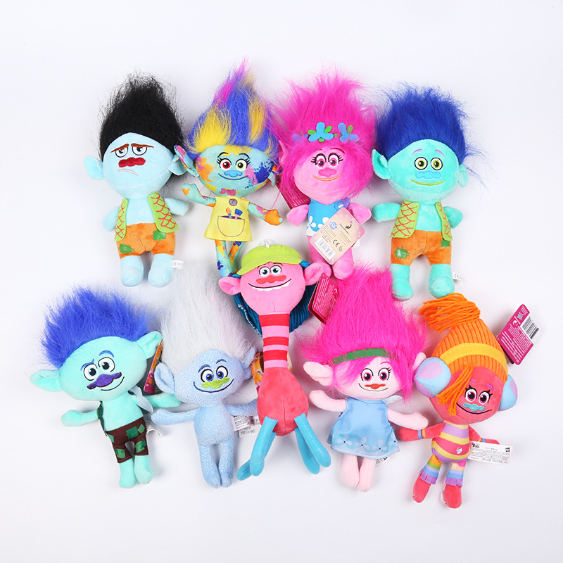 цены 23cm 30cm Trolls Plush Toy Movie Trolls Poppy Branch Skitter Biggie Stuffed Cartoon Dolls Magic Fairy Hair Wizard Kids Plus Toys