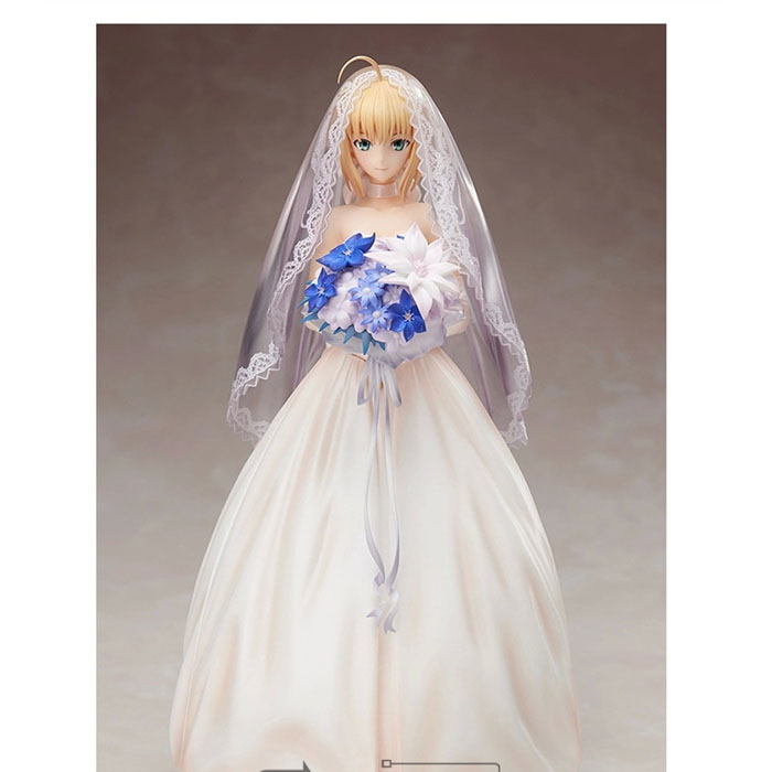Fate Stay Night/Fate Zero Cosplay Bride Saber 24cm/9.4'' Boxed Action Figures Toys Model GK Garage Kits fate stay night fate cosplay saber 14cm 5 5 boxed faceswipe garage kit action figures toys face change model