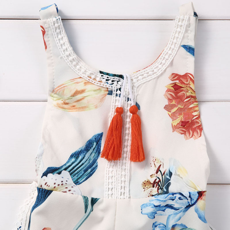 Floral Newborn Baby Girl Kids Sleeveless Flower Romper Jumpsuit Backless Cotton Sunsuit Outfits 6