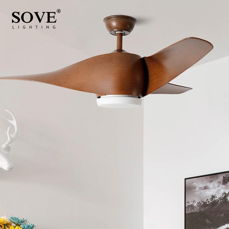 SOVE Braun Vintage Deckenventilator Mit Lichter Fernbedienung Ventilador De  Techo 220 Volt Schlafzimmer Deckenleuchte Fan Lampe