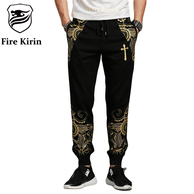 Pants Men Casual 2016 Hip Hop Streetwear 4XL Fashion Print Sweatpants Luxury Brand Autumn Winter Chinese Style Mens Pants P63