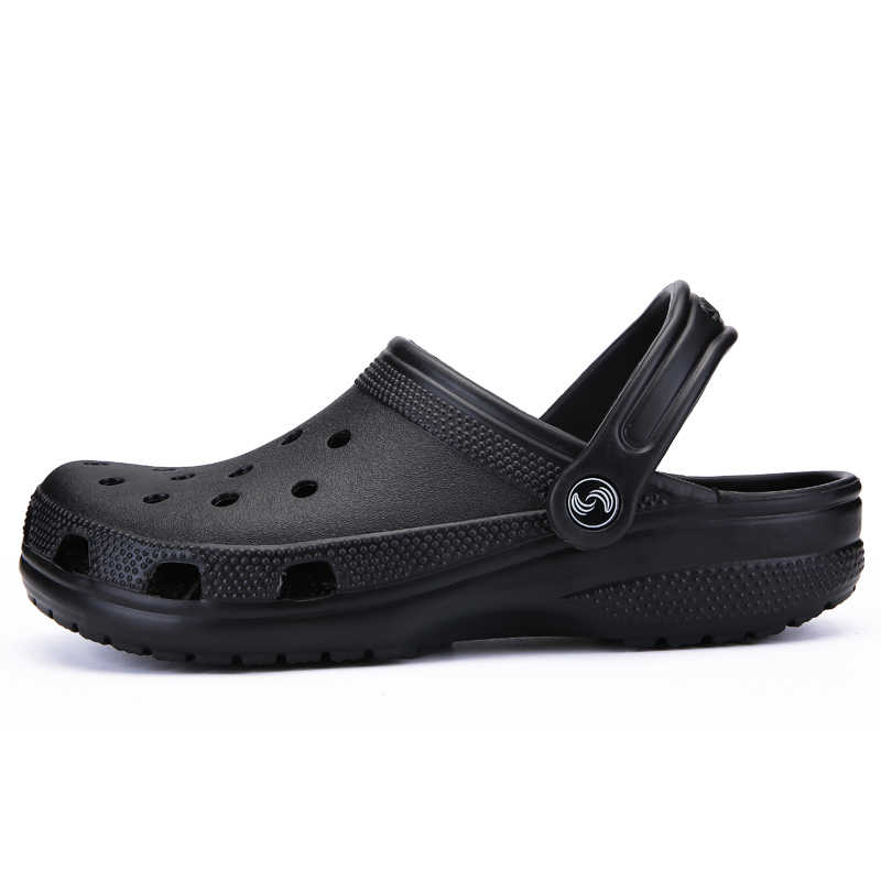 POLALI Brand Big Size 39-46 Croc Men Black Garden Casual Aqua Clogs Hot Male Band Sandals Summer Slides Beach Swimming Shoes