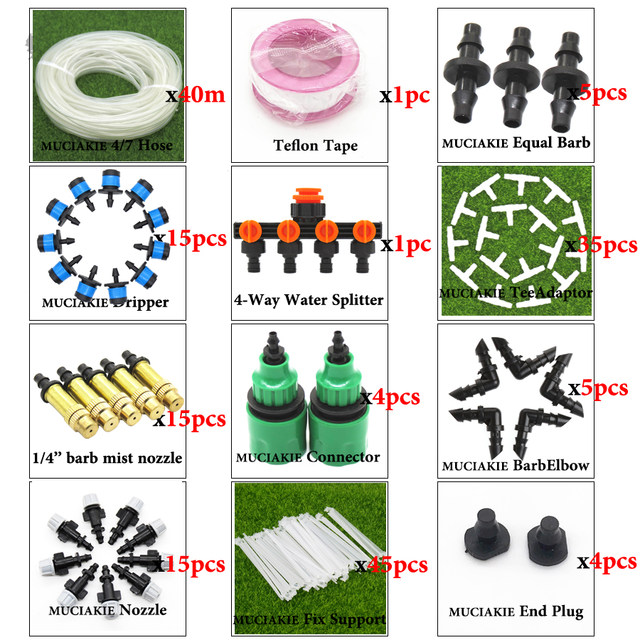 MUCIAKIE 40M to 10M New Garden Water Plant Irrigation System Planter  Dripper Kit Drip Line Set with 1/4'' PVC Hose Sprinklers