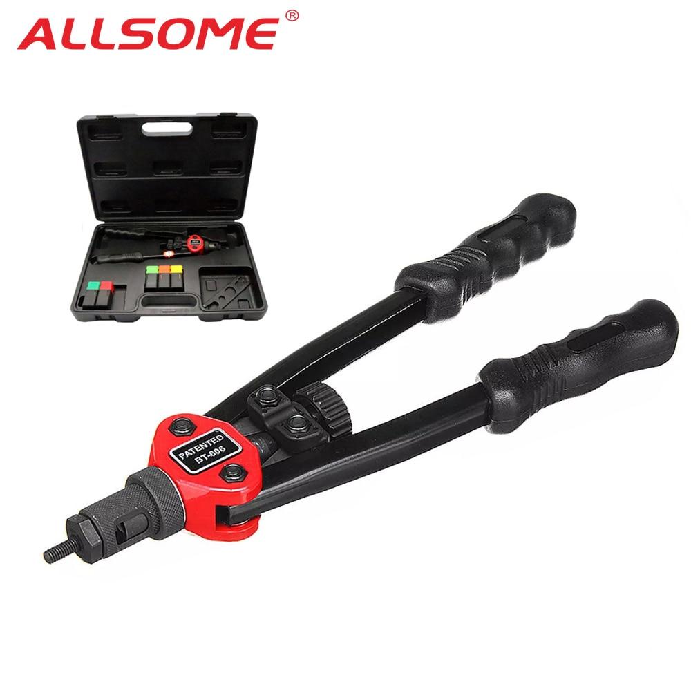 ALLSOME BT-605 пистолет с автоматическими заклепками, инструмент для Глухих Заклепок, гайка для тяжелой руки, инструмент для ручных гаек, мандрели...