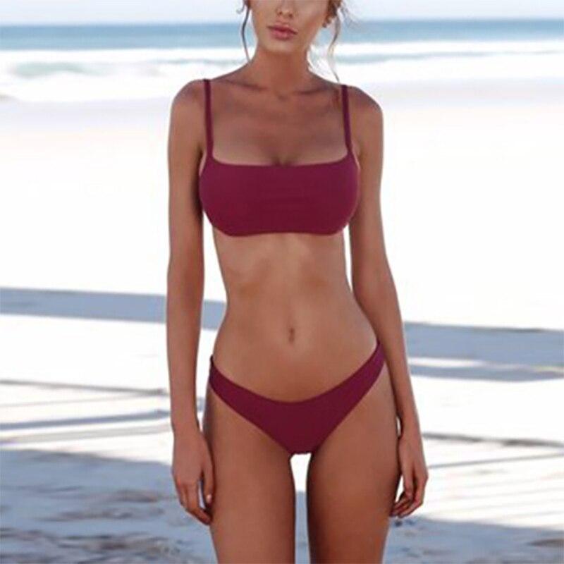 HTB1vAWncEGF3KVjSZFoq6zmpFXaX 2019 Solid Bikini Brazillian Swimsuit Women Bikini Set Sexy Off Shoulder Swimwear Female Swimming Biquini Maillot De Bain Femme