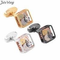 Julie Wang 1 pair Mosiądzu Wykonane Czarne Złoto Biały Mężczyzn Spinki Do Mankietów Watch Ruch Tourbillon Unikalne Mężczyźni Party Codzienne Akcesoria chłopaka
