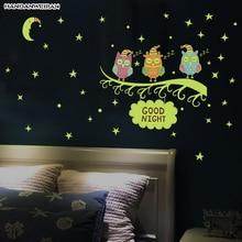2019 New30*60cm Luminous owl sticker Branch fluorescent home sticker Children room Decorative Removable PVC wall sticker недорого