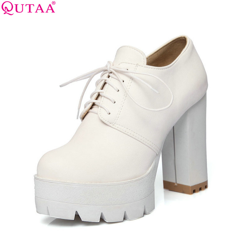 ФОТО QUTAA 2017 Women Pumps Ladies Shoes White Square High Heel Platform Round Toe Lace Up Fashion Woman Wedding Shoes Size 34-43