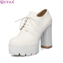 QUTAA/Женские туфли-лодочки 2017 г. Дамская обувь Белый Квадрат Высокого Высокая платформа круглый носок на шнуровке модные женская свадебная обувь размеры 34–43