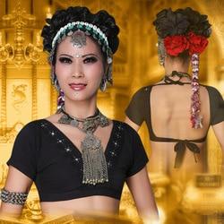 2017 ATS Tribal Bauchtanz Kleidung Crop Top Choli Tops V-ausschnitt Backless Plus Größe Frauen Gypsy Tribal Dance