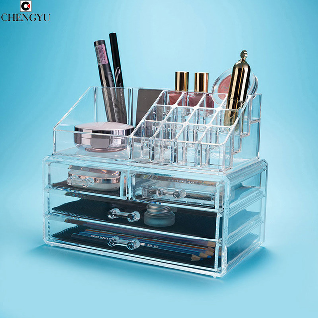 Acrylic Transparent Plastic Cosmetic Organizer Clear Makeup Jewelry