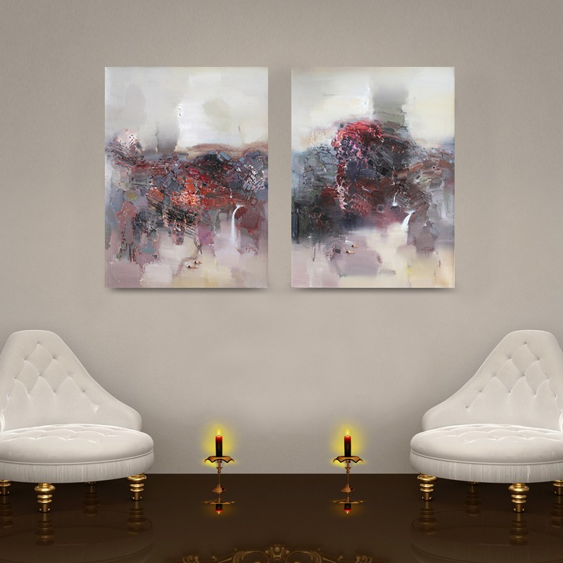 Wholesale 2Pcs Pub Abstract Oil Painting handPainted On Canvas Home Decorative Art Picture For Living Room in Painting Calligraphy from Home Garden