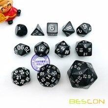 12pcs Polyhedral Dice Set D3-D60 60 Sides Dice Set D3 D4 D6 D8 D10 D% D12 D20 D24 D30 D50 D60 RPG Dice Set Black Color
