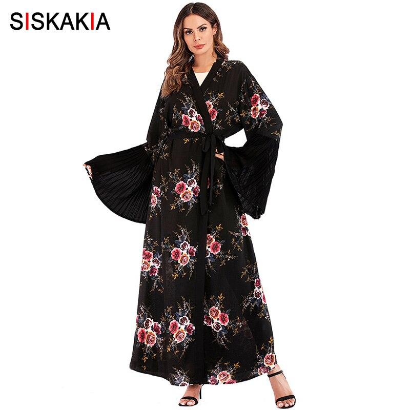 Siskakia Fashion Floral Print Women Abaya Spring Summer