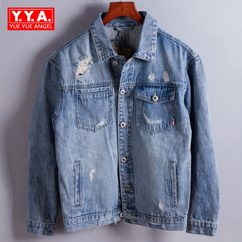 Brand Spring New Men Street Printed Casual Cowboy Jeans Jacket Motorcycle Biker Outwear Coat Fashion Hole Hip Hop Denim Jackets new men hip hop jeans mens long loose fashion skateboard baggy relaxed denim casual hiphop men street dancing pants large size