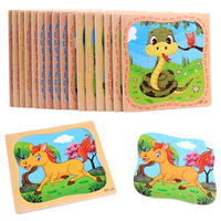Baby Wooden Toys Cartoon Animals 16Pcs Jigsaw 3d Puzzle For Children Montessori Educational Toys