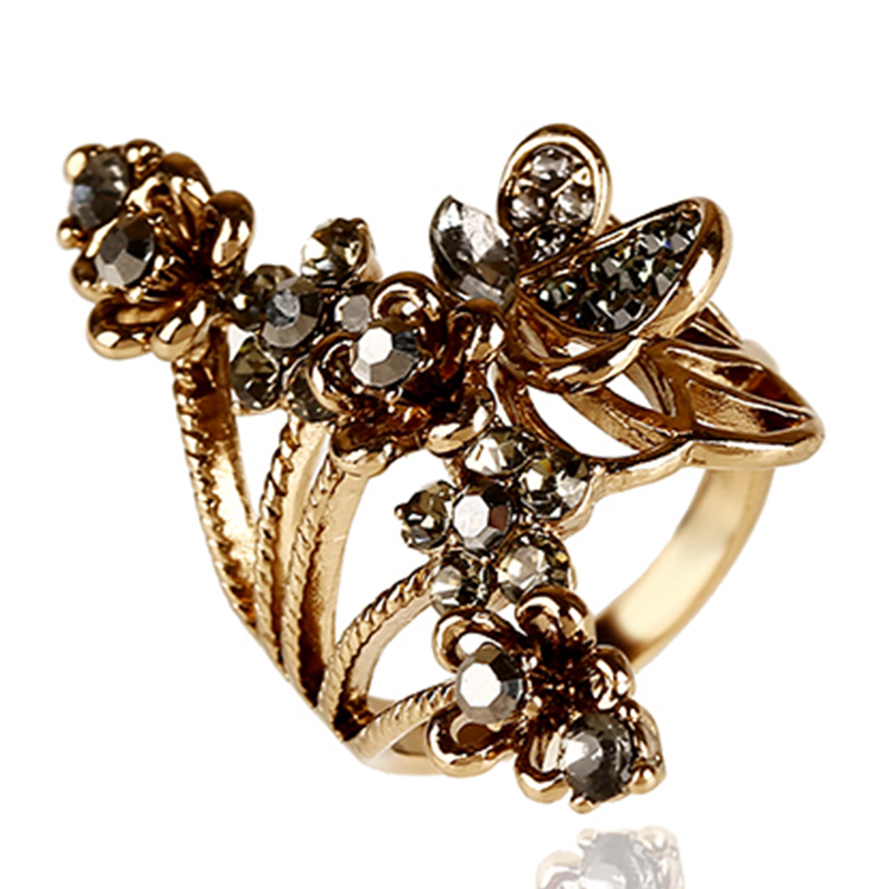 Vintage rings flowers shaped ring rhinestone jewelry Vintage style fashion rings