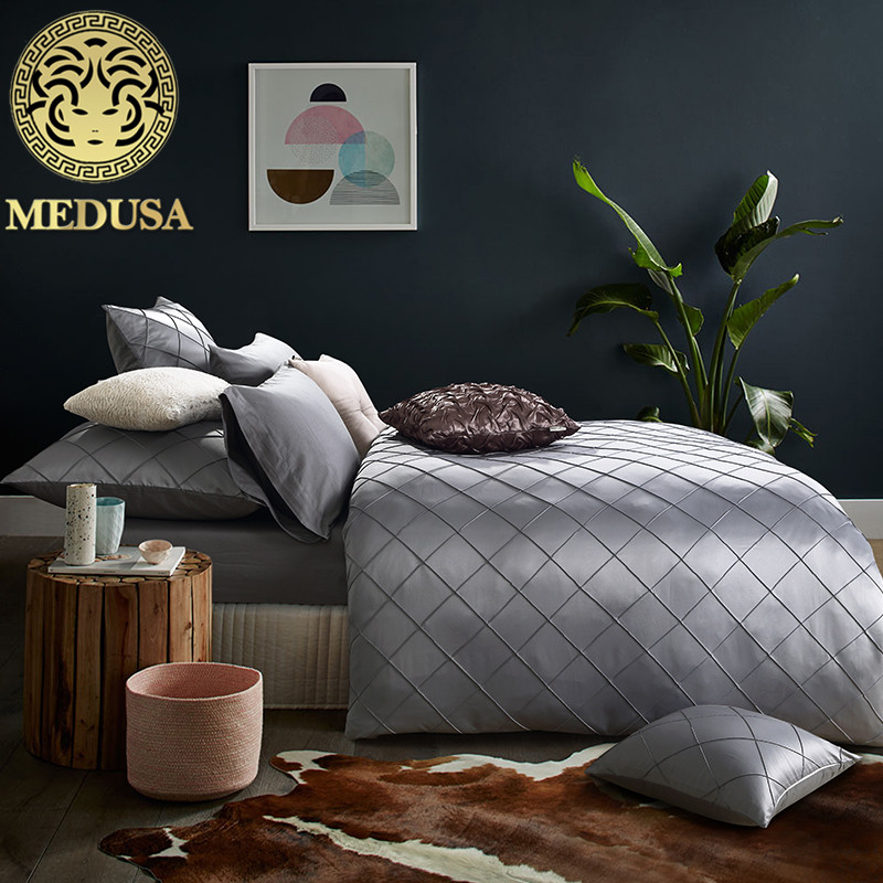 Medusa Luxury silk handcrafted grid bedding set king queen size bed linen set silver burgundy champagne tealMedusa Luxury silk handcrafted grid bedding set king queen size bed linen set silver burgundy champagne teal