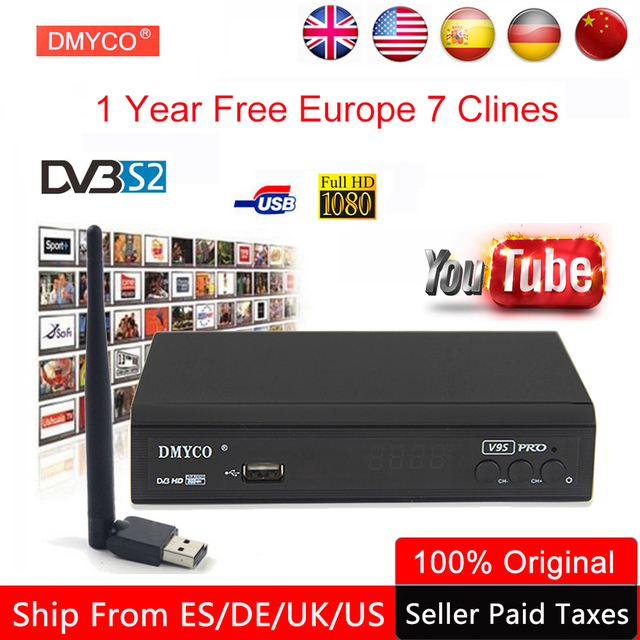 1 Year Clines Europe DVB-S2 Satellite Receiver lnb Spain Decoder Support DVB S2 1080P Full HD powervu Cline bisskey DVB Receptor