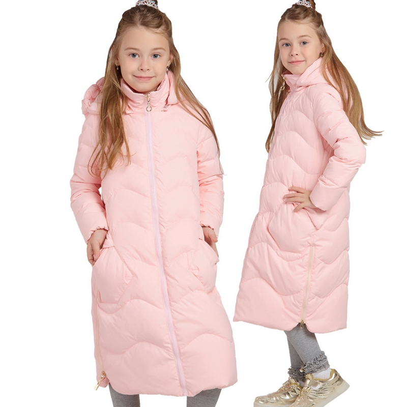 Russia Winter Warm Girl X-Long Down Coat High quality White duck down Kids The Knee Long Jacket Children Clothes Outerwear 6-14Y russia winter boys girls down jacket boy girl warm thick duck down